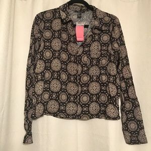 Black and Tan Patterned Button Down